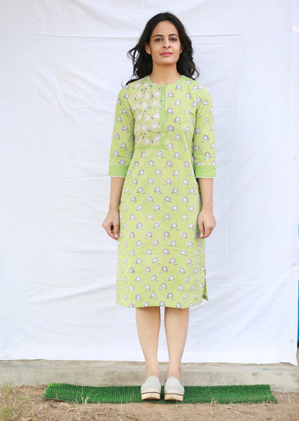 Straight Button Down Dress with Side Slit (Green)
