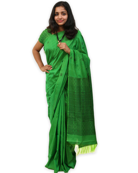 HandWoven Silk Cotton Saree by Ethnic Collage (Green)