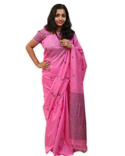 HandWoven Silk Cotton Saree by Ethnic Collage (Pink)