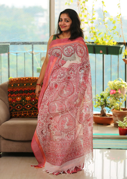 Hand-painted Madhubani Saree