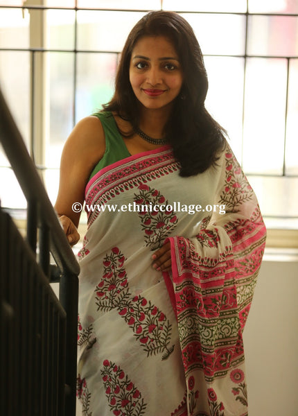 Handblock Printed Cotton Saree