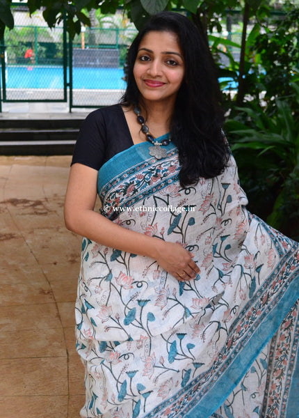 Block Printed Handwoven Pure Linen Saree