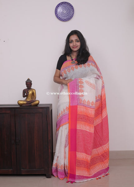Linen saree  ,Linen sari , Handloom linen, Handwoven linen saree, Pure linen saree from ethnic collage,white linen sari