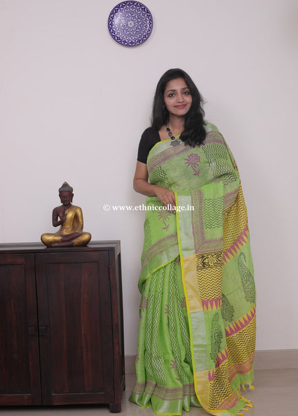 Linen saree  ,Linen sari , Handloom linen, Handwoven linen saree, Pure linen saree from ethnic collage,Handblock print linen saree, green linen sari