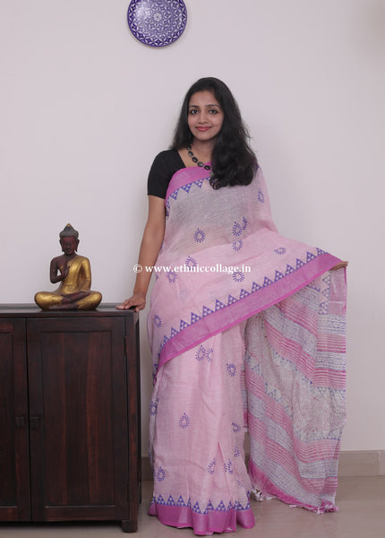 Linen saree  ,Linen sari , Handloom linen, Handwoven linen saree, Pure linen saree from ethnic collage,Pink Linen saree