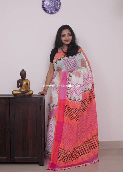 Linen saree  ,Linen sari , Handloom linen, Handwoven linen saree, Pure linen saree from ethnic collage,block print linen sari