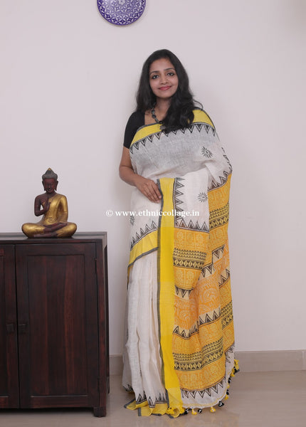 Linen saree  ,Linen sari , Handloom linen, Handwoven linen saree, Pure linen saree from ethnic collage,yellow linen saree