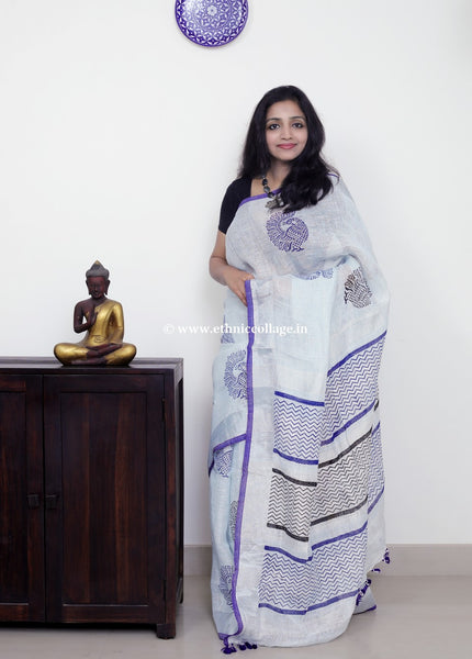 Linen saree  ,Linen sari , Handloom linen, Handwoven linen saree, Pure linen saree from ethnic collage,Blue Linen, Block print linen saree