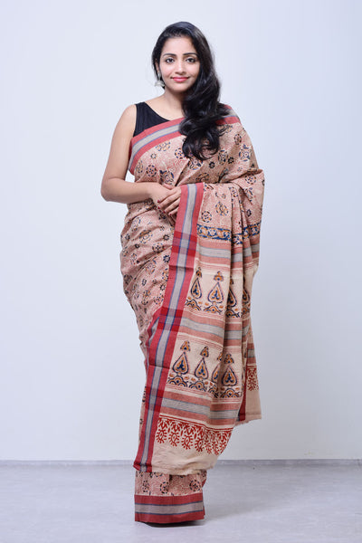 Malkha saree,Handblock printed kalamkari,Natural dye saree,Handloom saree, Handloom, Handwoven