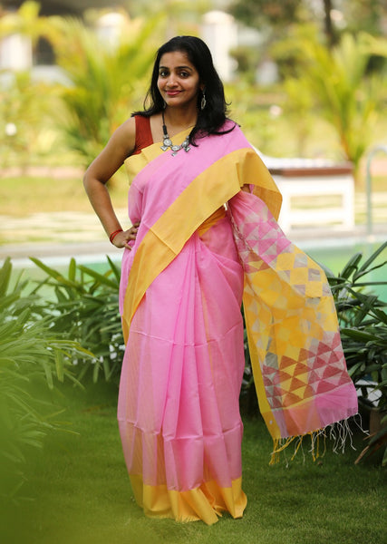 Handloom Silk by Mercerised Cotton Jamdani Saree