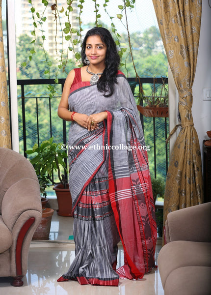 Handloom Khadi Cotton Saree with Woven Fish Motifs