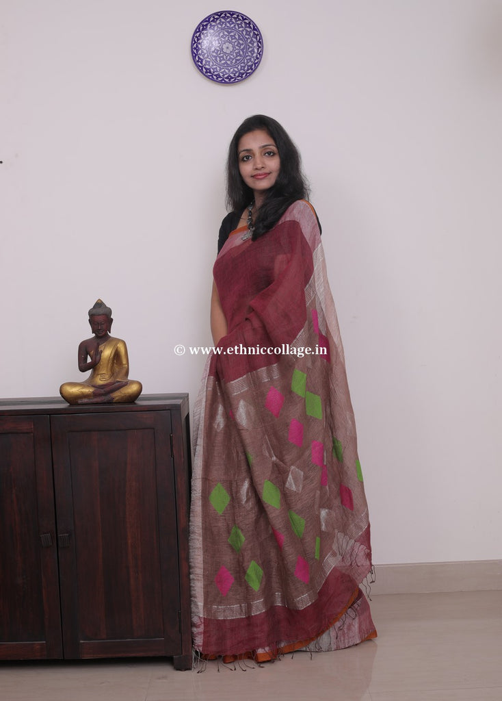 Linen saree  ,Linen sari , Handloom linen, Handwoven linen saree, Pure linen saree from ethnic collage,brown colour linen saree