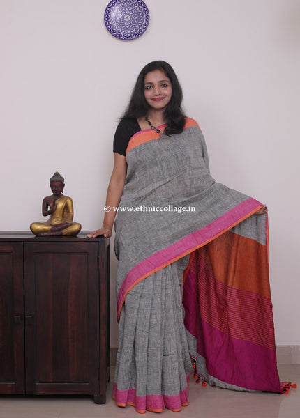 Linen saree  ,Linen sari , Handloom linen, Handwoven linen saree, Pure linen saree from ethnic collage,grey linen saree