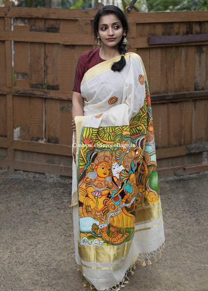 Hand-painted Mural Art on Kerala Kasavu Saree from Balaramapuram