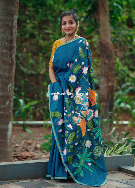 handpainted-pichwai-pichvai-art-on-handloom-pure-tussar-silk-saree-handwoven-handloom-silk-sari-buy-online