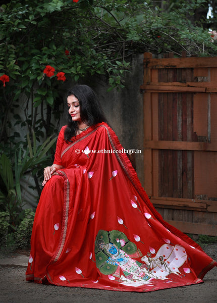Handpainted Pichwai on Pure Handloom Silk Saree, Pichwai saree, Pichvai saree, pichwai silk saree, Handpainted saree, Pichwai Red saree, red silk saree, red saree, silk saree