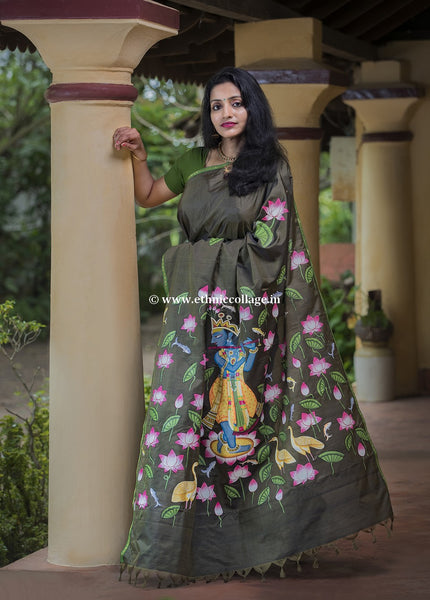 Handpainted Pichwai on Pure Handloom Silk Saree, Pichwai saree, Pichvai saree, pichwai silk saree, Handpainted saree, Pichwai green saree, green silk saree, green saree, silk saree