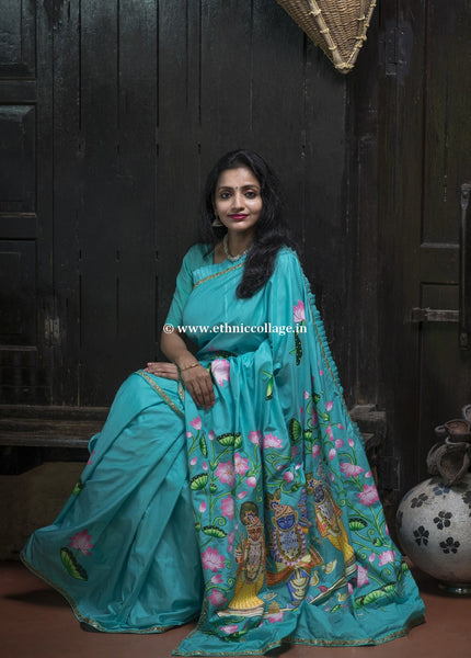 Handpainted Pichwai on Pure Handloom Silk Saree, Pichwai saree, Pichvai saree, pichwai silk saree, Handpainted saree, Pichwai Blue saree, Blue silk saree, Blue saree, silk saree