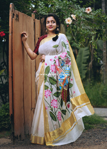 Handpainted Pichwai on Kerala Kasavu Saree