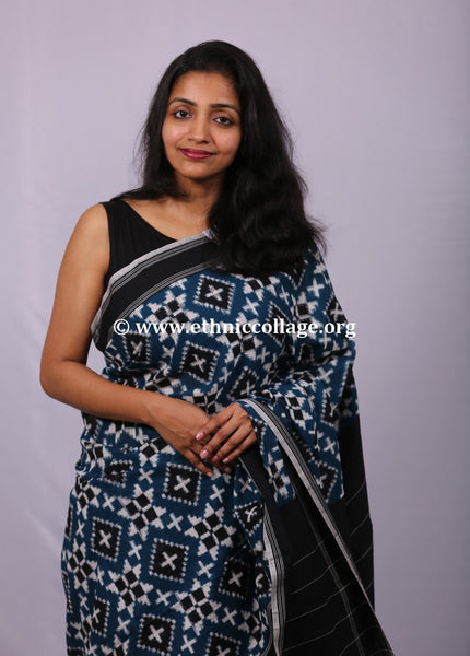 Handwoven Ikat Cotton Saree