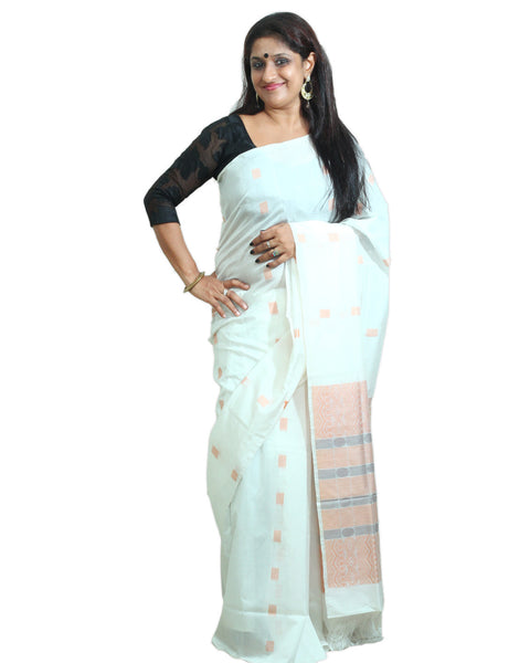 HandWoven Silk Cotton Saree by Ethnic Collage (White)