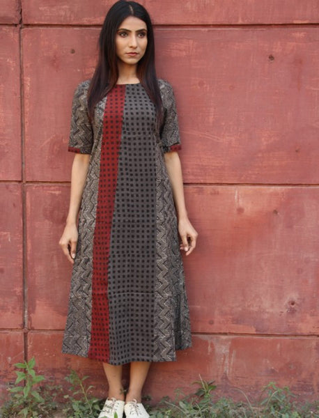 A-line Dress Panelled Dress with Checks Patterns - Tan (R2)