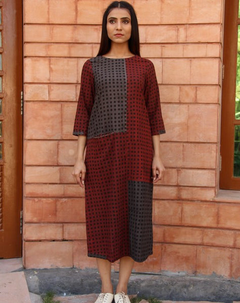 A-line Dress with Checks Pattern and Pocket - Tan (R1)