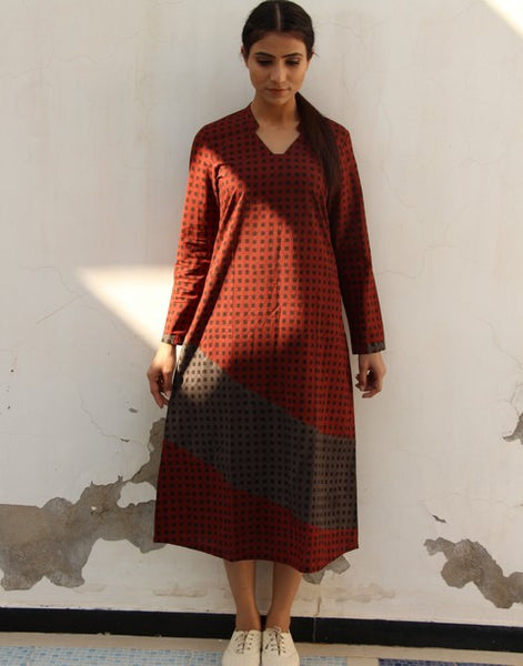 Full Sleeved A-Line Dress in Maroon (R6)