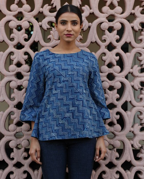 Block Printed Flared Top - Blue (R9)