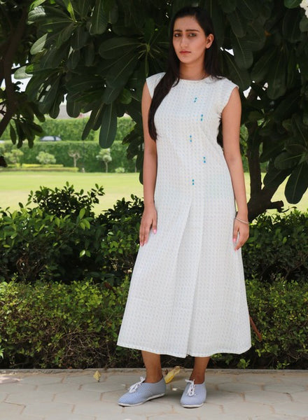 Pleated Dress - White (MD-13)