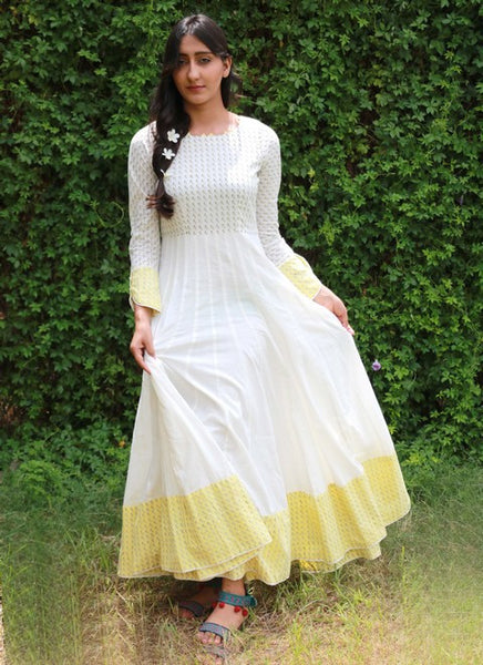 Anarkali with Neck Detailing and Long Sleeves - White (MA-4)