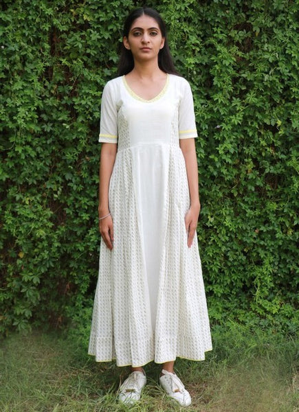 Anarkali with Side Pleats and Panel - White (MA-2)