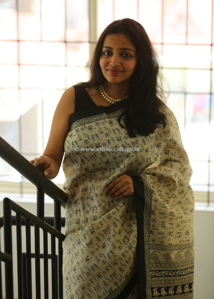 Handblock Printed Silk Saree