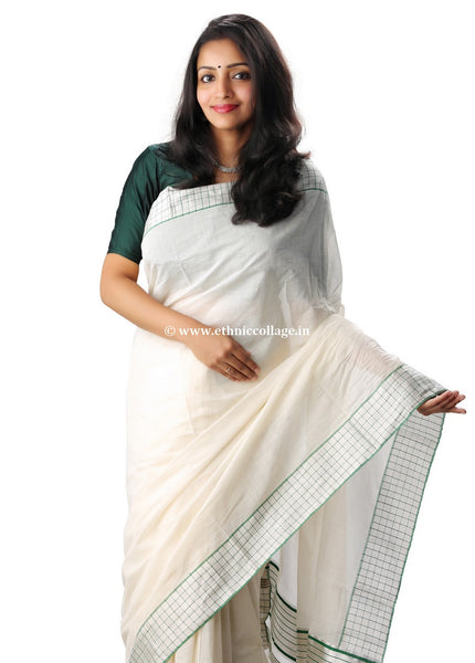 Pure Kora Saree from Balaramapuram