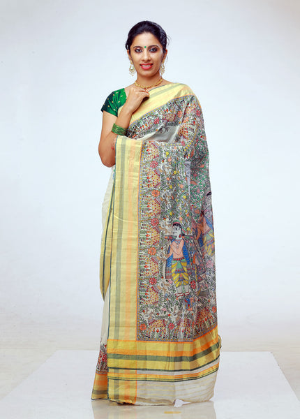 Hand-painted Madhubani on Kerala Kasavu Saree from Balaramapuram