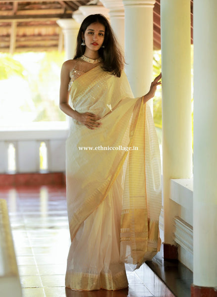 Kerala saree, Handloom pure zari saree