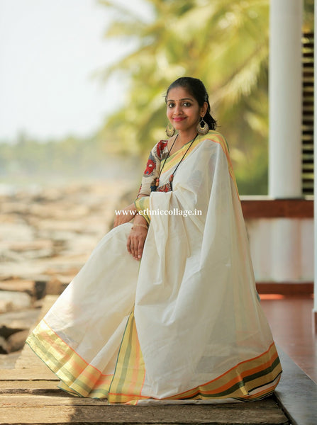Handwoven Pure Kerala Saree
