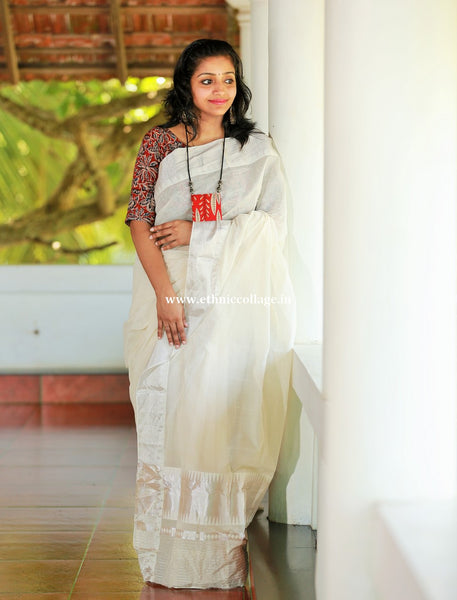 Handloom Kerala saree with silver zari