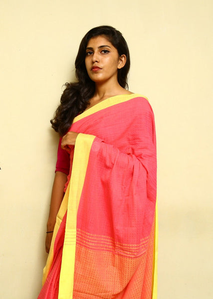 Pure Handloom Khadi Cotton Saree with Woven Designs