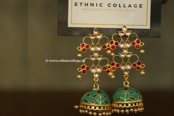 Kundan Inspired Earrings with Meenakari Work