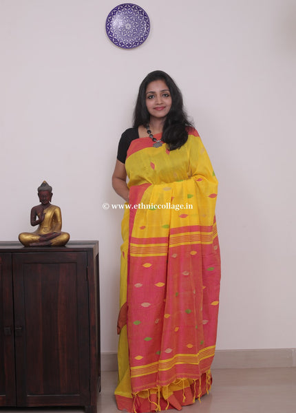 Handloom Khadi Cotton Saree with Woven Buttas