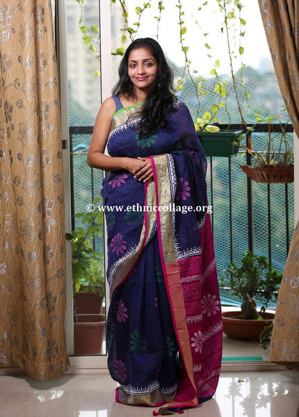 Hand-block Printed Handloom Linen Saree