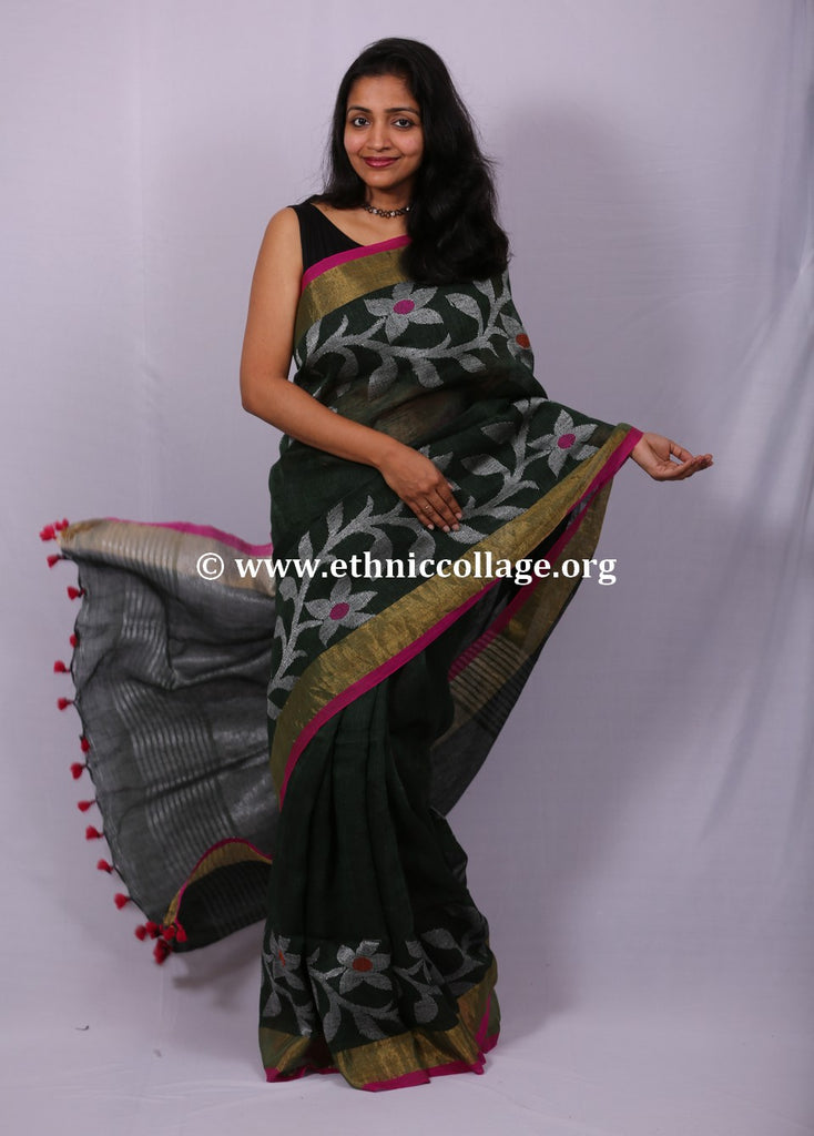 Handloom Linen Saree from Bengal