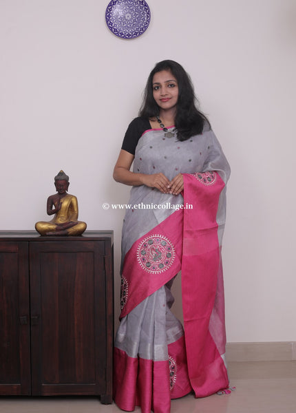 Linen saree with embroidery ,Linen saree , Handloom linen