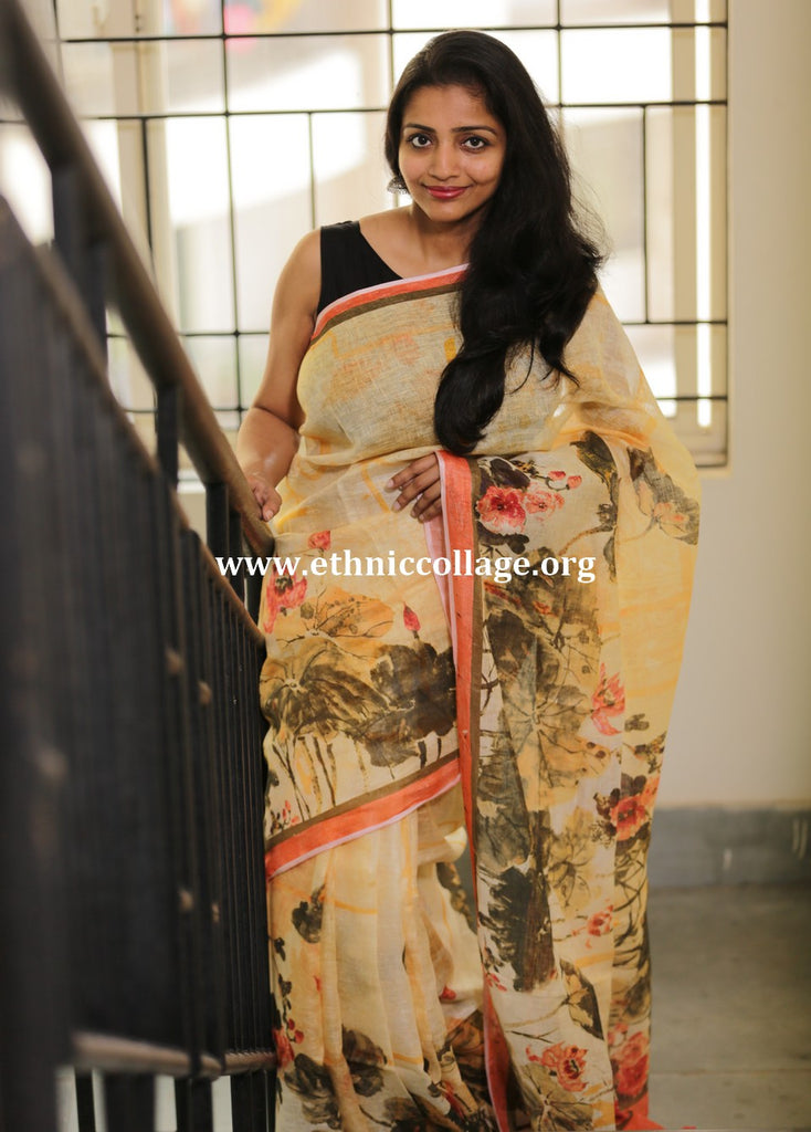 Handloom Linen Saree with Digital Print