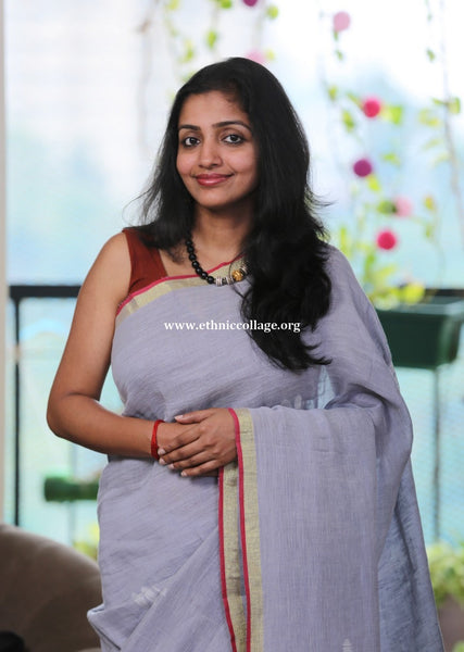Handloom Pure Organic Linen Saree with Woven Motifs of Dragonfly <br> (Bengal Linen)