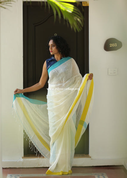 Handloom Linen Saree from Bhagalpur