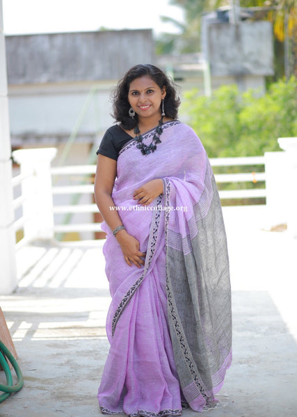 HandWoven Pure Organic Linen Saree from Bengal (LNP23)