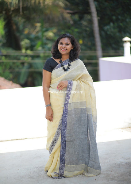 Handloom Pure Organic Linen Saree from Bengal (LNP26)