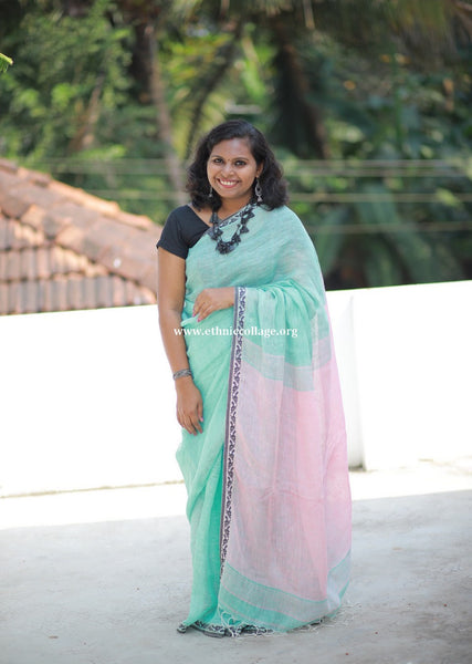 Handloom Pure Organic Linen Saree from Bengal (LNP27)
